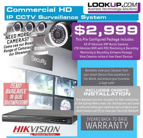Hikvision Security Bundle - 4 Hikvision Cameras, 1 NVR plus On Site Installation