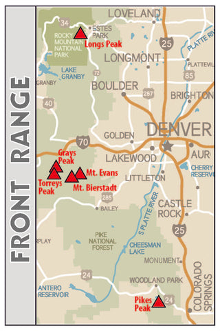 Front Range Map of Colorado's Fourteeners