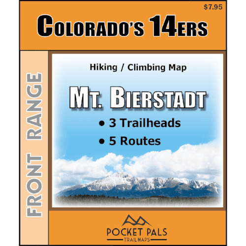 A hiking/climbing map for Mount Bierstadt, one of Colorado's Fourteeners. It is located in the Front Range.