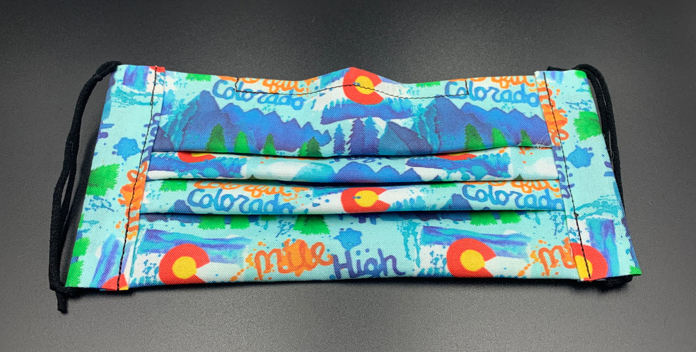 Colorado CO Fun Watercolor Print Cotton Face Mask with Filter Pocket (Adult Size)