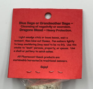 Blue Sage & Dragon's Blood Bundle Smudge Stick Handwrapped Colorado USA