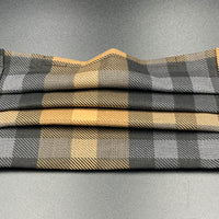 Black Grey Pale Golden Orange Plaid Cotton Face Mask with Filter Pocket (Adult Size)
