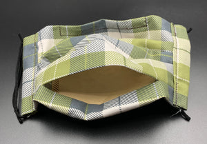 Green Plaid Unisex Cotton Face Mask with Filter Pocket (Adult Size)
