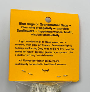 Blue Sage & Sunflowers Bundle Smudge Stick Handwrapped Colorado USA