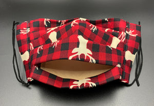 Red Black Plaid with Deer Print Cotton Face Mask with Filter Pocket (Adult Size)