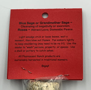 Blue Sage & Roses Bundle Smudge Stick Handwrapped Colorado USA