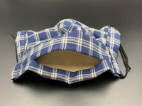 Plaid Blue Print Cotton Face Mask with Filter Pocket (Adult Size)