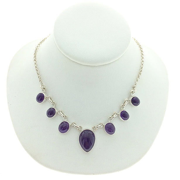 Amethyst Purple Quartz Cabochon Cut Multistone Natural Gemstone Sterling Silver Necklace