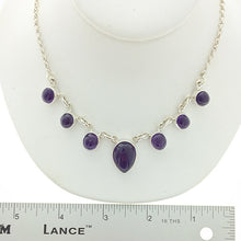 Load image into Gallery viewer, Amethyst Purple Quartz Cabochon Cut Multistone Natural Gemstone Sterling Silver Necklace