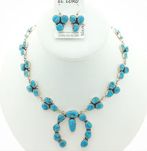 Load image into Gallery viewer, Sleeping Beauty Turquoise Navajo Squash Blossom Native American Natural Gemstone Sterling Silver Necklace and Earrings Set