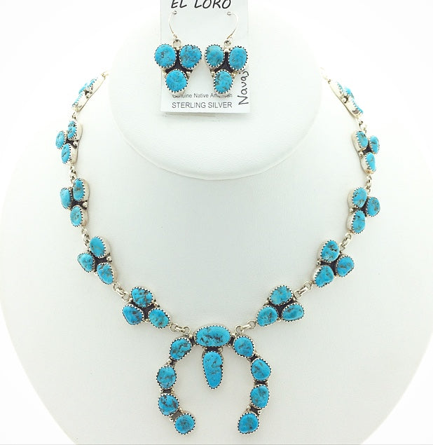 Sleeping Beauty Turquoise Navajo Squash Blossom Native American Natural Gemstone Sterling Silver Necklace and Earrings Set