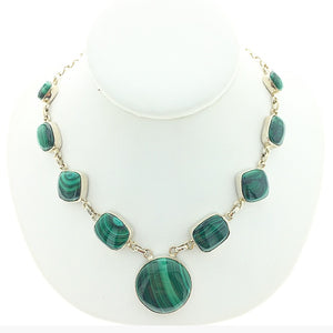 Malachite Banded Bright Green Gemstone Multistone Sterling Silver Necklace