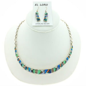 Gilson Opal Rainbow Fire Lab Created Gemstones Mosaic Inlaid Sterling Silver Necklace and Earring Set