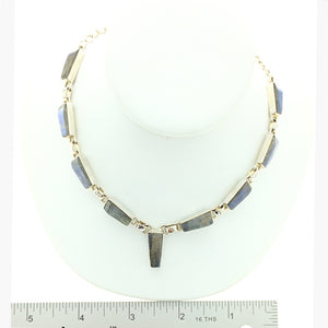 Labradorite Faceted Contemporary Multistone Sterling Silver Necklace