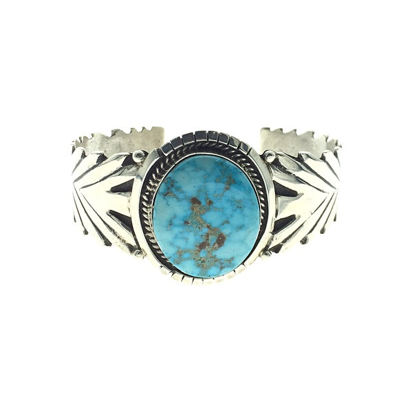 Turquoise Mountain Natural Gemstone Native American Navajo Sterling Silver Bracelet Cuff