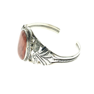 Spiny Oyster Shell Organic Natural Gemstone Native American Navajo Sterling Silver Bracelet Cuff