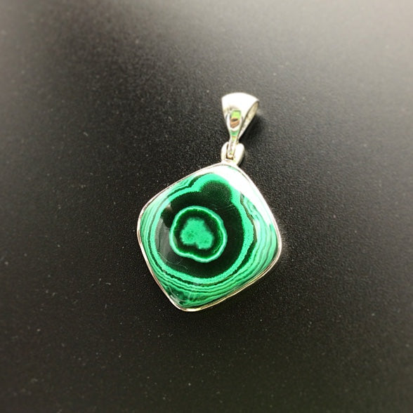 Malachite Banded Bright Green Gemstone in Sterling Silver Pendant