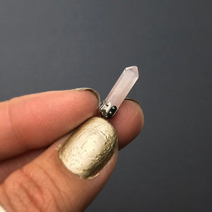 Rose Quartz Pink Miniature Crystal Point Sterling Silver Pendant
