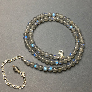 Labradorite Gemstone Round Bead Strand Sterling Silver Necklace by Josephine Grasso