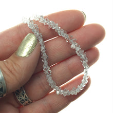 Load image into Gallery viewer, Herkimer Diamond Quartz Natural Crystal Bead Strand Sterling Silver Necklace by Josephine Grasso