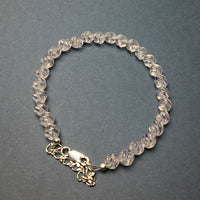 Rose Quartz Carved Gemstone Bead Sterling Silver Bracelet by Josephine Grasso