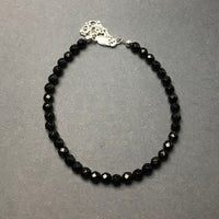 Black Onyx Faceted Gemstone Bead Sterling Silver Bracelet by Josephine Grasso