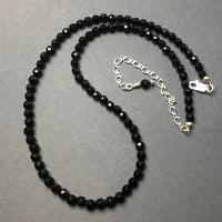 Black Onyx Faceted Gemstone Bead Strand Sterling Silver Necklace by Josephine Grasso