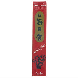 Sandalwood Red Morningstar Japanese Style Wood Free Incense Sticks-50 sticks or 200 sticks