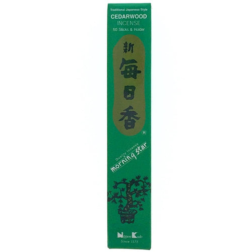Cedarwood Dark Green Morningstar Japanese Style Wood Free Incense Sticks-50 sticks or 200 sticks