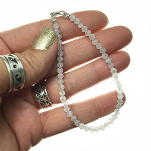 Moonstone Adularia Rainbow Gemstone Sterling Silver Bracelet by Josephine Grasso