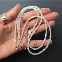 Moonstone Faceted Gemstone Bead Double Strand Sterling Silver Necklace by Josephine Grasso