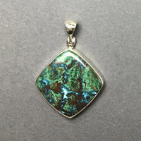 Chrysocolla Bright Blue Red Green Gemstone in Sterling Silver Pendant