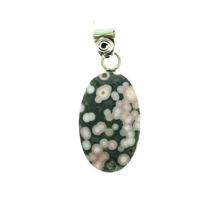 Ocean Jasper Orbicular Oval Gemstone on Sterling Silver Pendant Tim Grasso