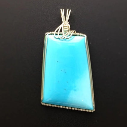 Sleeping Beauty Turquoise Natural Gemstone Sterling Silver Pendant Argentium Silver Wire Wrap Tim Grasso