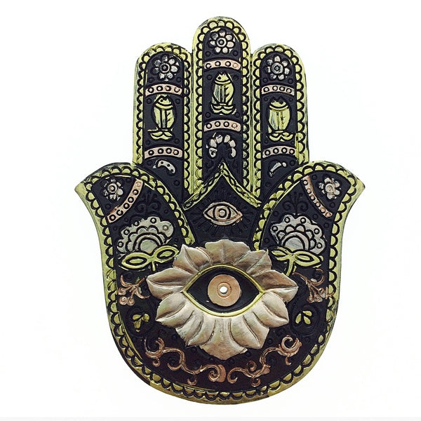 Hamsa Hand of Fatima Resin Ash Catcher Black Incense Burner (Suitable for Indian Stick Incense)