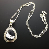 "White Buffalo Turquoise Black and White Natural Stone Sterling Silver Pendant on 18"" Sterling Silver Chain"