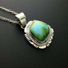 "Load image into Gallery viewer, Sonoran Turquoise Natural Stone Sterling Silver Pendant on 18"" Sterling Silver Chain"