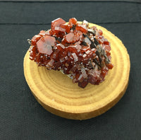 Vanadinite on Goethite over Barite Crystal Cluster Mounted Miniature Mineral Specimen (Mibladen, Morocco)