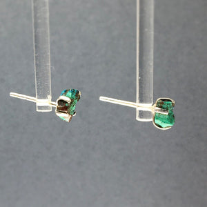 Chrysocolla Blue Green Raw Crystal Sterling Silver Stud Earrings