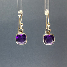 Load image into Gallery viewer, Amethyst African Purple Square Cushion Cut Faceted Crystal Sterling Silver Dangle Earrings