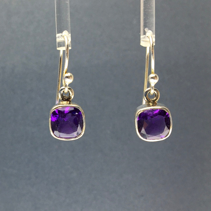 Amethyst African Purple Square Cushion Cut Faceted Crystal Sterling Silver Dangle Earrings