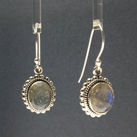 Labradorite Gemstone Round Sterling Silver Dangle Earrings