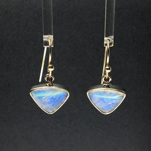 Moonstone Rainbow Triangle Drop Sterling Silver Dangle Earrings