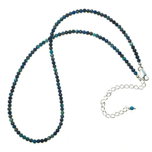 Chrysocolla Faceted Gemstone Bead Strand Sterling Silver Necklace by Josephine Grasso