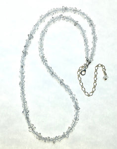 Herkimer Diamond Quartz Natural Crystal Bead Strand Sterling Silver Necklace by Josephine Grasso
