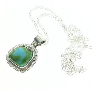 "Sonoran Turquoise Natural Stone Sterling Silver Pendant on 18"" Sterling Silver Chain"