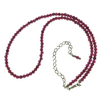 Garnet Gemstone Round Bead Strand Sterling Silver Necklace by Josephine Grasso