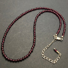 Load image into Gallery viewer, Garnet Gemstone Round Bead Strand Sterling Silver Necklace by Josephine Grasso