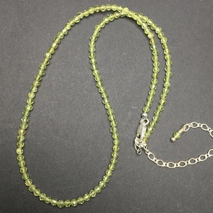 Peridot AA Faceted Gemstone Bead Strand Sterling Silver Necklace by Josephine Grasso