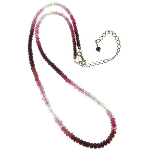 Ruby Variegated Faceted Gemstone Bead Strand Sterling Silver Necklace by Josephine Grasso